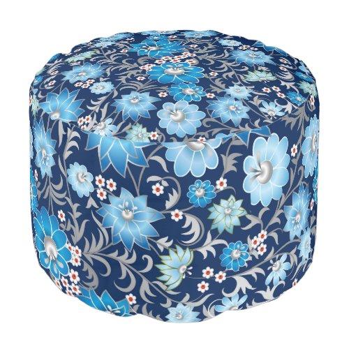 Shabby flowers blue round pouf