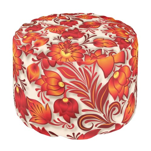 Shabby flowers red round pouf