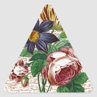 Shabby Flowers Triangle Sticker