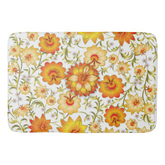 Shabby flowers yellow orange bathroom mat. Shabby Floral Bath Mats   Rugs   Zazzle