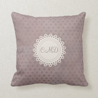 Shabby Grunge Style Dusky Pink Polka Dots Pattern Throw Pillow