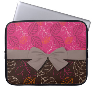 shabby hot pink brown etched leafy pattern computer sleeve