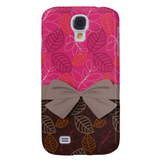 shabby hot pink brown etched leafy pern galaxy s4 cover