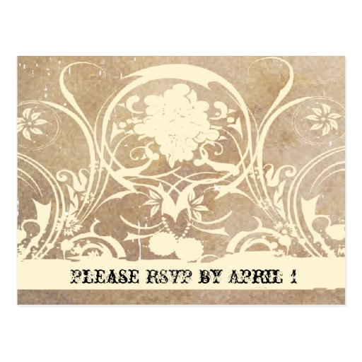 Shabby Lace Parchment RSVP Postcard