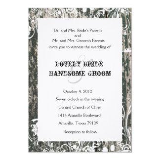 Shabby Old Wood Wedding Invitation