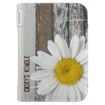 Shabby Old Wood White Daisy Kindle Case