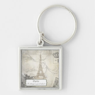 Shabby:  Paris is Always a Good Idea! Silver-Colored Square Keychain