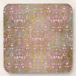 Shabby Pink and Brown Vintage Damask Coaster