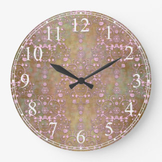 Shabby Pink and Brown Vintage Damask Large Clock