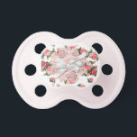 """Shabby Pink Roses Newborn Baby Girl Pacifier<br><div class=""""desc"""">Sweet cottage chic newborn baby girl pacifier done in a pink rose floral pattern.  Graphics of a pink doily and a white satin looking bow decorates the middle.  Lovely baby shower gift for any mom to be having a girl.</div>"""