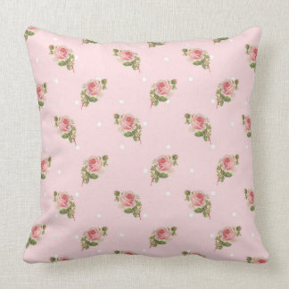 Shabby pink roses throw pillow