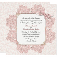 Shabby Pink Victorian Style Wedding Invitation