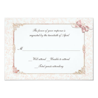 Shabby Pink Victorian Style Wedding RSVP Card