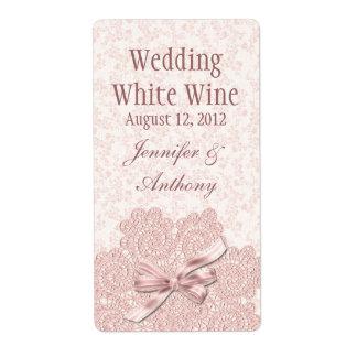 Shabby Pink Victorian Wedding Mini Wine Label