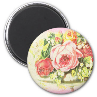 Shabby Rose Collage Art 2 Inch Round Magnet