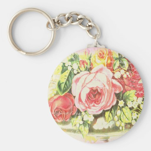 Shabby Rose Collage Art Keychain