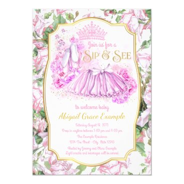 Shabby Rose Tutu Princess Sip and See Invitations