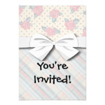 shabby roses dots and preppy plaid custom announcements