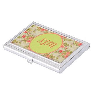 Shabby Roses Monogram Business Card Case