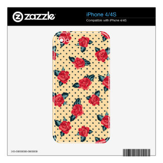 shabby roses on yellow black polka dots decal for the iPhone 4S