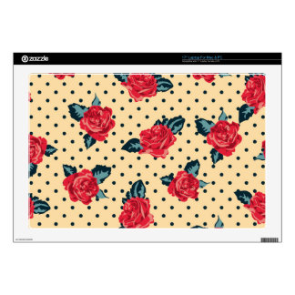 """shabby roses on yellow black polka dots decals for 17"""" laptops"""