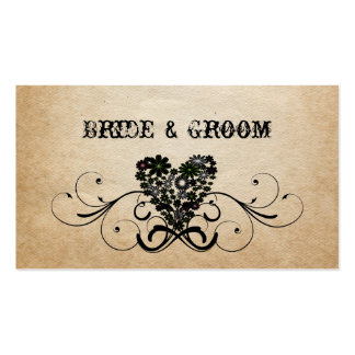 Shabby Rustic Black Heart Place Cards Double-Sided Standard Business Cards (Pack Of 100)