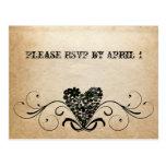 Shabby Rustic Black Heart RSVP Postcards