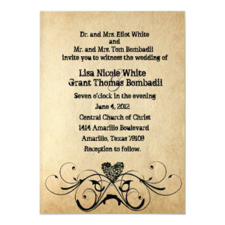 Shabby Rustic Black Heart Wedding Invitation