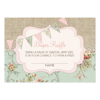 Shabby Rustic Country Chic Diaper Raffle Ticket Large Business Card