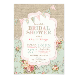 Shabby Rustic Country Chic Floral Lace Burlap Card