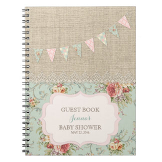 Shabby Rustic Country Chic Floral Lace Burlap Notebook
