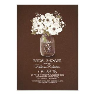 shabby rustic floral mason jar bridal shower 5x7 paper invitation card