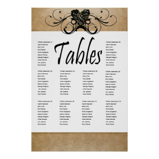Shabby Rustic Seating Chart Poster