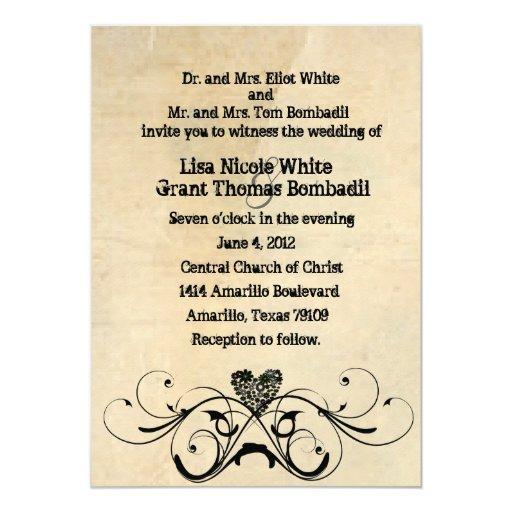 "Shabby Rustic Wedding Invitation 5"" X 7"" Invitation Card"