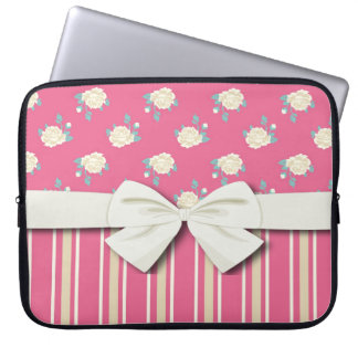 shabby stripes and roses on hot pink laptop sleeve