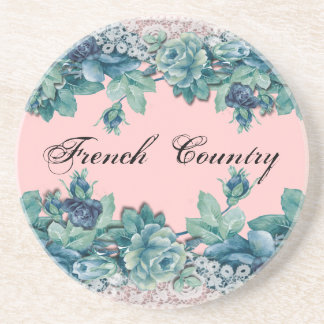 Shabby Vintage Chic Lace Blue Roses Coaster