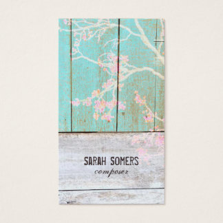 Shabby Vintage Country Rustic Turquoise Wood Chic Business Card