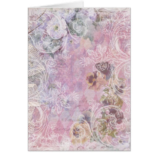 Shabby Vintage Floral Blank Note Card