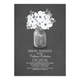 shabby vintage floral mason jar bridal shower 5x7 paper invitation card