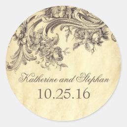 Shabby Vintage Flourishes Elegant Wedding Classic Round Sticker