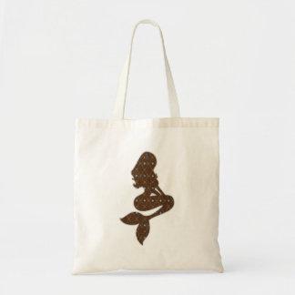 shabby vintage mermaid silhouette design tote bag