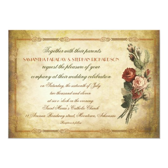 Best Paper Weight For Wedding Invitations: Shabby Vintage Old Paper Wedding Invitations