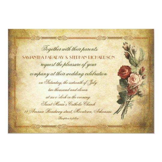 Paper For Wedding Invitation: Shabby Vintage Old Paper Wedding Invitations