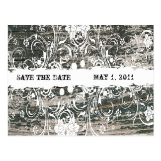 Shabby Vintage Old Wood Save the Date Postcard