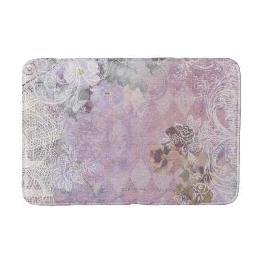 Turquoise Bath Rugs For Dry The Feet Simple Turquoise: Shabby Vintage Purple Floral Bath Mat