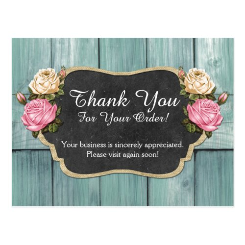 Shabby Vintage Roses Rustic Chalkboard Thank You Postcard