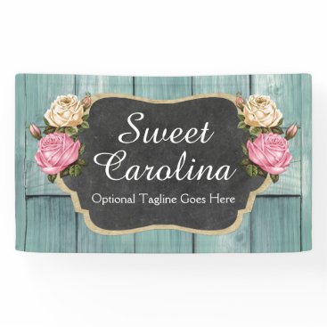 Professional Business Shabby Vintage Roses Rustic Country Chalkboard Banner