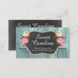 """Shabby Vintage Roses Rustic Country Chalkboard Business Card<br><div class=""""desc"""">Elegantly rustic with beautiful vintage rose accents! Warm, down-home country feel. Burlap, chippy painted wood, dusty chalk and feminine script text make this design collection perfect for a stylish boutique atmosphere! Versatile for a wide variety of small businesses. • Customize it! Click the &quot;Customize&quot; button to change fonts, sizing and...</div>"""