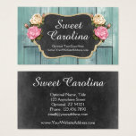 Shabby Vintage Roses Rustic Country Chalkboard Business Card at Zazzle