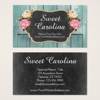 Shabby Vintage Roses Rustic Country Chalkboard Business Card
